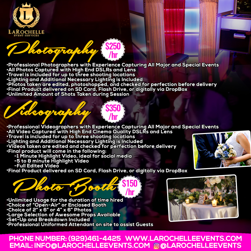 PHOTOGRAPHY VIDEOGRAPHY PHOTO BOOTHS
